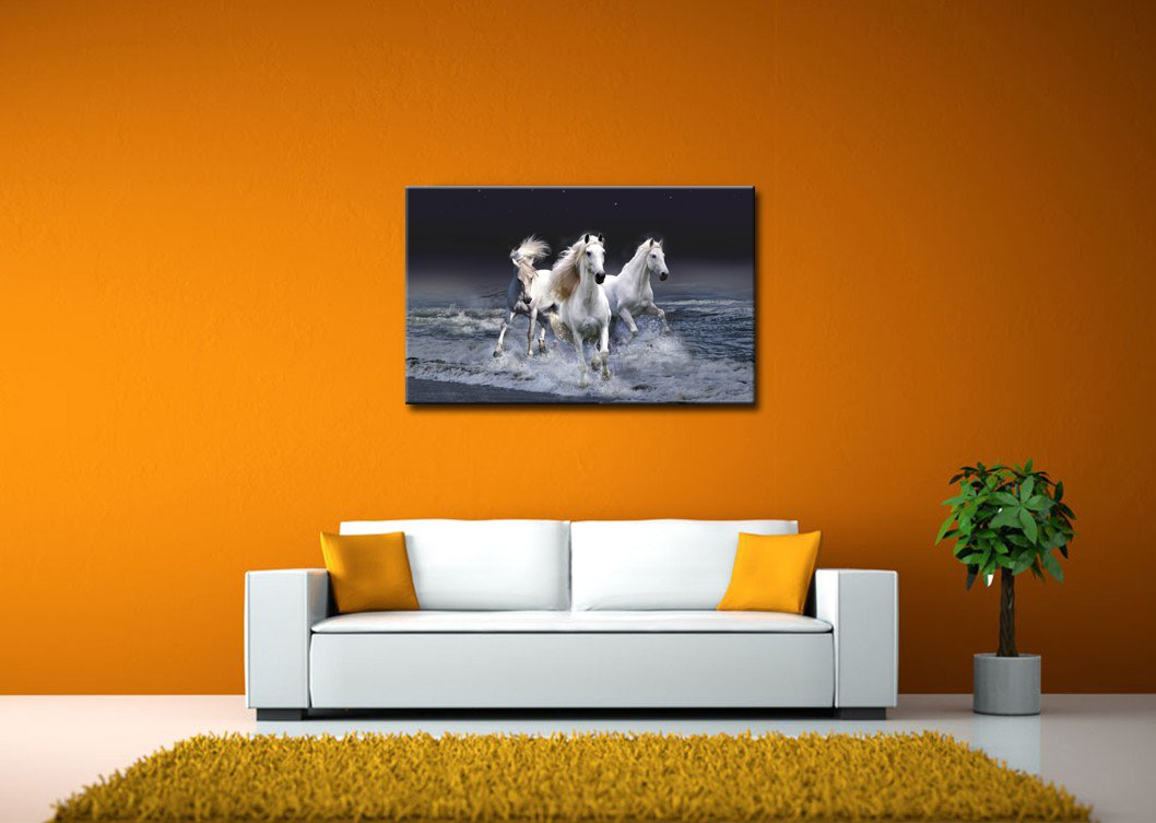 Amazon black and white wall art painting mystic horses amazon black and white wall art painting mystic horses running across sea prints on canvas the picture animal pictures oil for home modern decoration amipublicfo Images