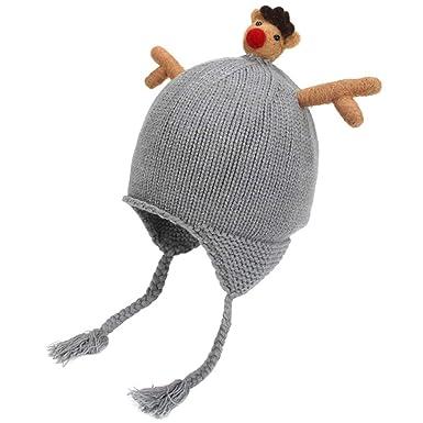 71693277b Amazon.com: Zoylink Kids Christmas Hat Cute Beanie Hat Elk Antler ...