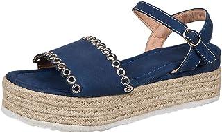 Chaussures Compensées Femme, Manadlian Sandales Talon Compensé Chic Tongs Sandales Talons Hauts Bout Ouvert Plate-Forme Été Pente Sandales Mocassins Mode Espadrille