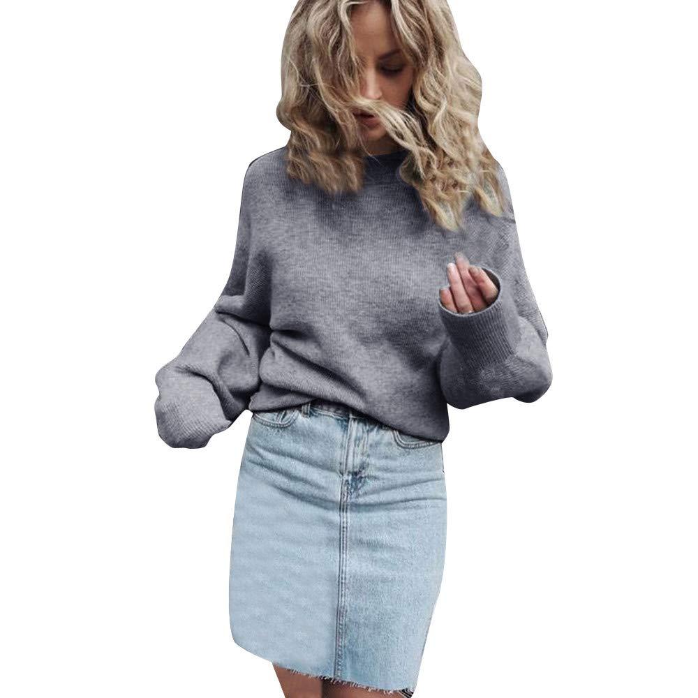 JiaMeng Maglione Donna Eleganti, Pullover Maglione Pullover a Maniche Lunghe con Scollo a V a Maniche Lunghe in Maglia o-Collo S/M/L/XL