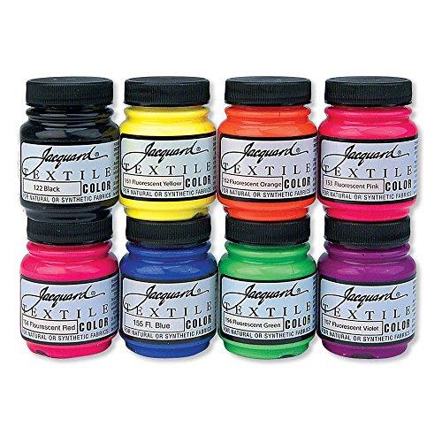 Jacquard Textile 8 Fluorescent Color Set (Tie Dye Fabric Paint)