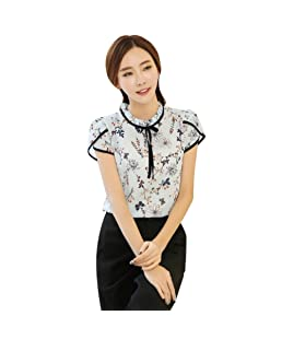 Soly Tech Women Retro Floral Print Chiffon Blouse Ruffled Collar Work Shirt Tops