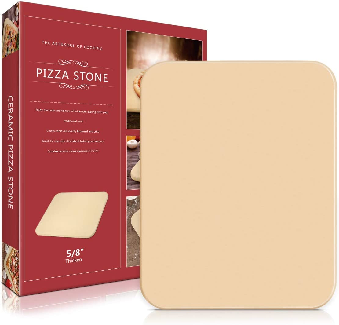 "Lirradight Pizza Stone, Ceramic Pizza Grilling Stone/Baking Stone, Perfect Baking Tools for BBQ and Grill - Thermal Shock Resistant, Durable and Safe Stone, 15""x12"" Rectangular and 0.63'' Thick"
