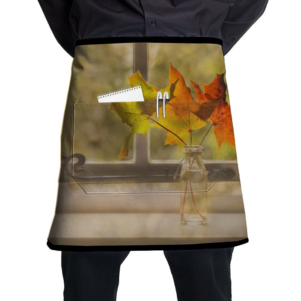 Still Life Leaves Window Adjustable Apron With Pocket For Kitchen BBQ Barbecue Cooking Women's Men's Great Gift For Wife Ladies Men Boyfriend