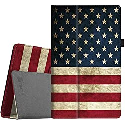 """Fintie Folio Case for All-New Amazon Fire HD 10 Tablet (7th Generation, 2017 Release) - Premium PU Leather Slim Fit Smart Stand Cover with Auto Wake / Sleep for Fire HD 10.1"""" Tablet, US Flag"""