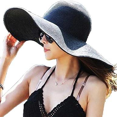 f232edb6e940f Femme été Pliable Large Grand Brim Disquette Chapeau de Plage soleil Chapeau  de Paille-Noir