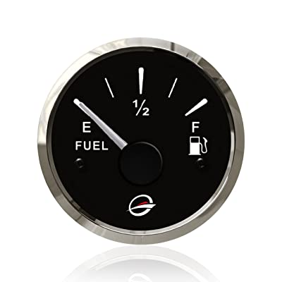 "2"" 12V Electrical Fuel Level Gauge - 240-33 Ohm 24V Universal Oil Meter E-1/2-F Indicating Range, Fuel Float with Red Backlight, Anti-Fogging, Anti-Rust, Waterproof Stainless Stress Frame for Marine: Automotive"