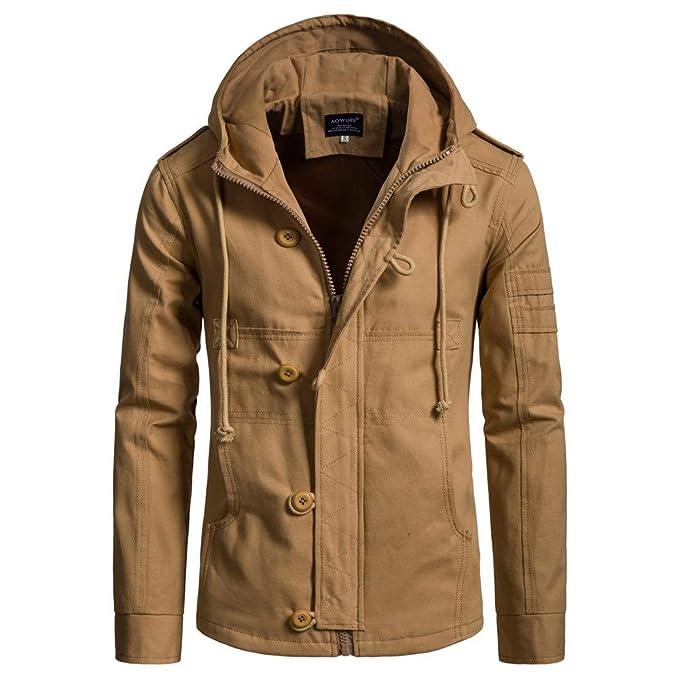 Amlaiworld Chaqueta de algodón de otoño Invierno para Hombre Gabardina de  Moda de Hombres Chaqueta Militar para Hombre Chándal Abrigo de Piel Parka   ... a271b8a905b