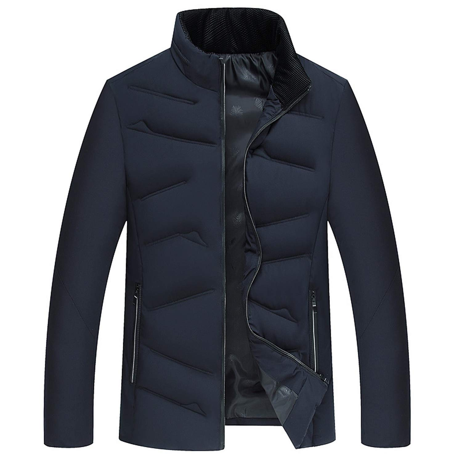 Winter Jacket Cotton Padded Warm Thicken Short Coat Clothing Stand Collar Male Solid Coat