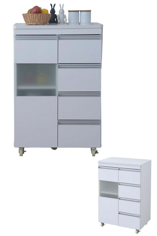 JKプラン 光沢のある 鏡面 仕上げ キッチンカウンター キッチンボード 幅 60 カウンター 引き出し 付き キャスター付き 高さ 90 収納 棚 ラック ガラス扉 ホワイト TSFPL00002WH B07BKQJVSS ホワイト ホワイト