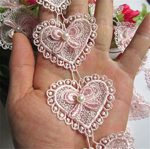 3 Meters Heart Bow Pearl Lace Edge Trim Ribbon 5.2 cm Width Vintage Style Pink Edging Trimmings Fabric Embroidered Applique Sewing Craft DIY Valentine's Day Gifts Cards Decor Clothes Embroidery