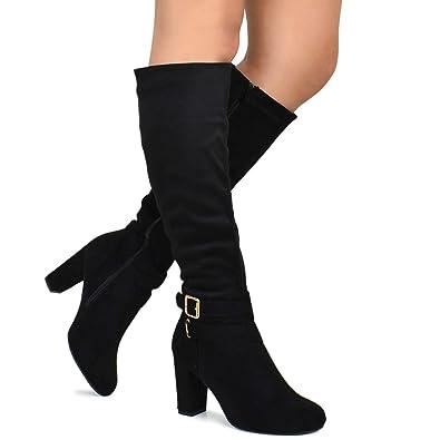 08cfa14750a Premier Standard - Strappy Buckle Knee High Boots - Trendy Block Heel Shoe  - Comfortable Easy