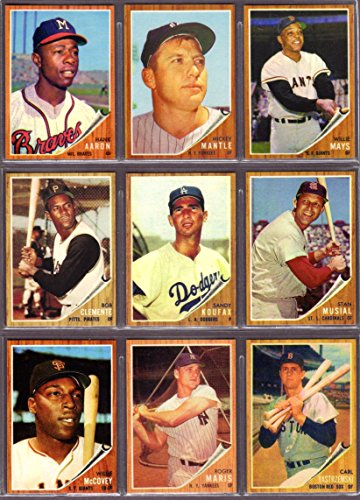 1962 Mickey Mantle (1962 Topps Baseball (9) Card Reprint Lot Hank Aaron, Mickey Mantle, Willie Mays, Roberto Clemente, Sandy Koufax, Stan Musial, Willie McCovey, Roger Maris, Carl Yastrzemski)