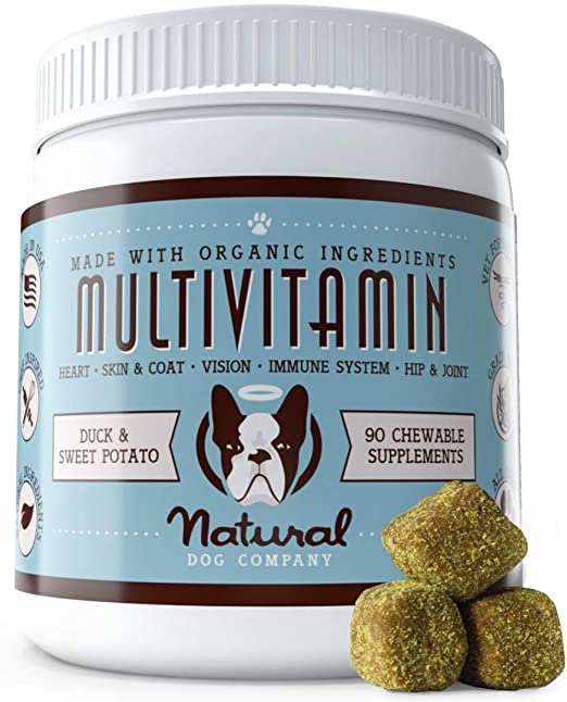 Natural Dog Company Multivitamin Supplement with Turmeric and Fish Oil, 35 Essential Vitamins & Nutrients, Immune System, Skin & Coat, and Hip & Joint Support, Duck & Sweet Potato Flavor, 90 Chews