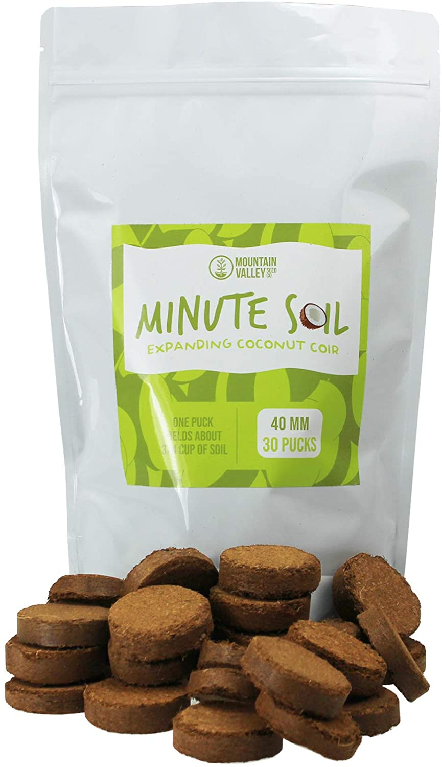 Minute Soil - Compressed Coco Coir Fiber Grow Medium - 40 MM Wafers - Bag of 30 = 5.5 Quarts of Potting Soil - Indoor Container Gardening: Seed Starts, Wheatgrass, More - Just Add Water - OMRI Organic