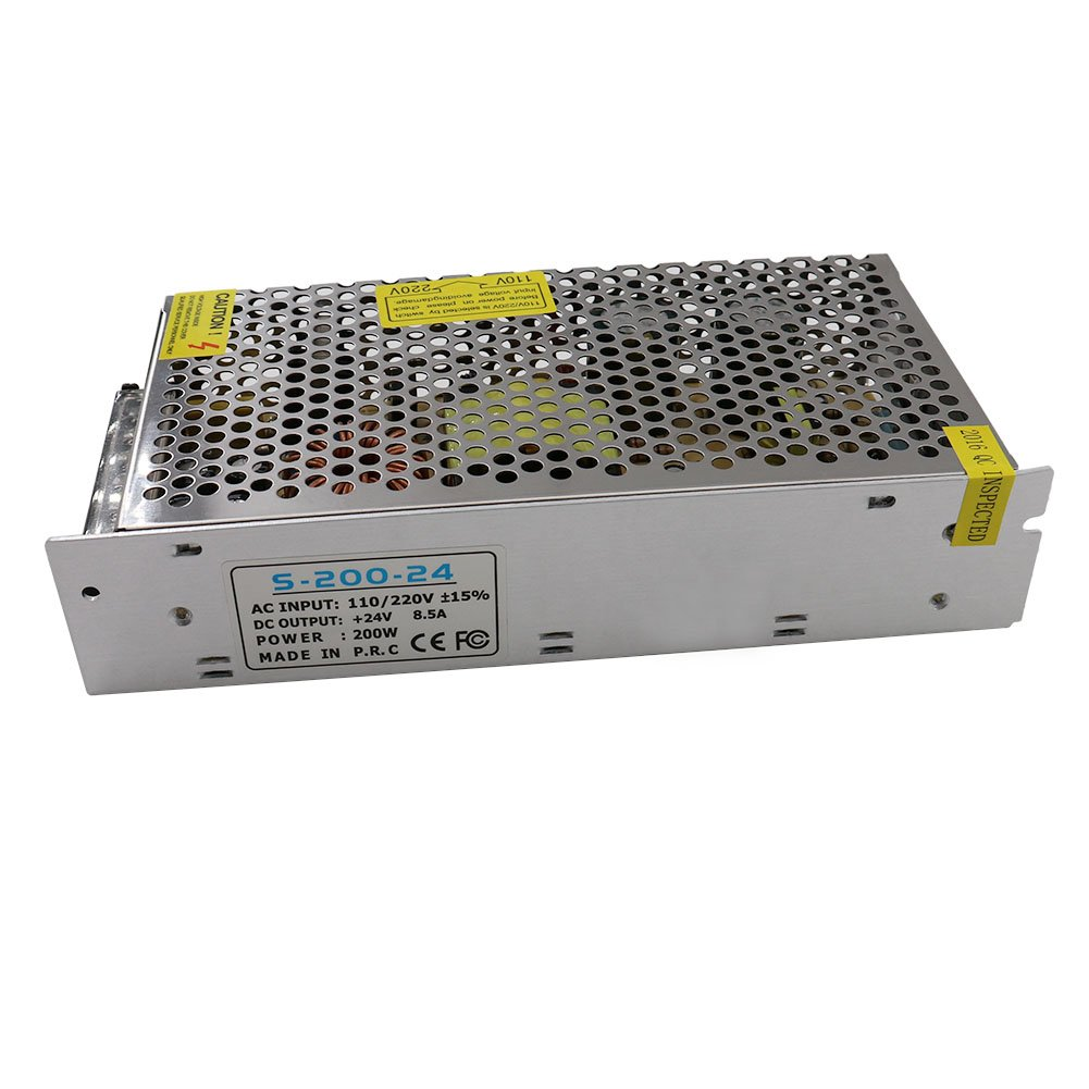 NeeKeons AC 110V-220V To DC 24V 8.5A(200W) Switching Power Supply Transformer Regulated for LED Strip light, CCTV, Radio, Computer Project etc (24V8.5A)