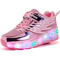 Meurry Kids Mesh Roller Shoe LED Wheel Roller Shoes Retractable Roller Skate Shoes Kids Flashing Lights Sneakers for Boys Girls