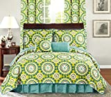 All American Collection New 6pc Printed Reversible Bedspread Set with Dust...