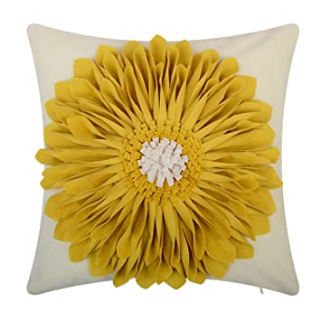 Amazon.com: OiseauVoler 3D girasoles bordado Throw fundas de ...