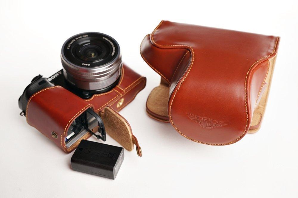 Desert Brown BolinUS Handmade Genuine Real Leather Half Camera Case Bag Cover for Sony Cyber-shot DSC-RX100 VI RX100 VI Camera With Hand Strap RX100 VI Case