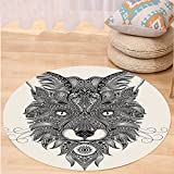 VROSELV Custom carpetCeltic Decor Sharp Eyed Fox Head Portrait Ethnic Mask Celtic Animal Pattern Decor Asian Style Image Bedroom Living Room Dorm Decor Black Ecru Round 72 inches
