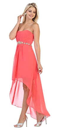 May Queen Evening Short Dress (4, Coral)