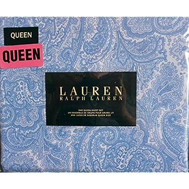 Lauren Ralph Lauren 4 Piece Queen Sheet Set Blue and White Paisley