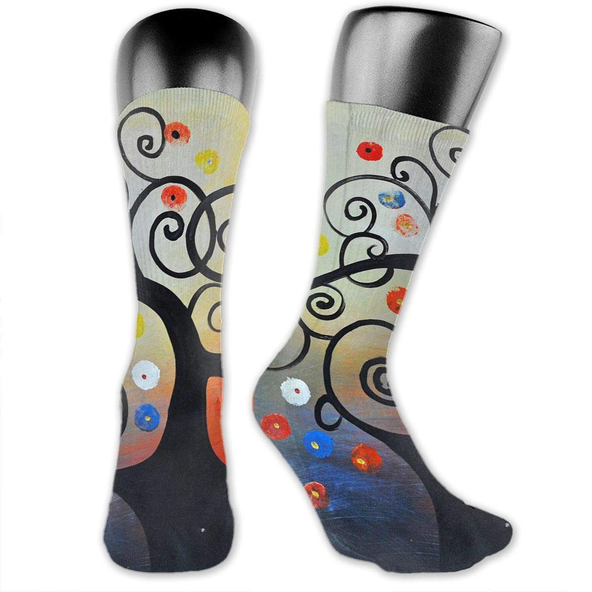 OLGCZM Abstract Tree Painting Men Womens Thin High Ankle Casual Socks Fit Outdoor Hiking Trail