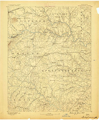 Spottsylvania VA topo map, 1:125000 scale, 30 X 30 Minute, Historical, 1887, 20 x 16.4 IN - - Woodland Hills At Village