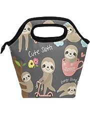 Lunch Tote Bag Cute Baby Sloth Neoprene Insulated Cooler Warmer Portable Funny Lunchbox Handbag for Men Women Adult Kids Boys Girls