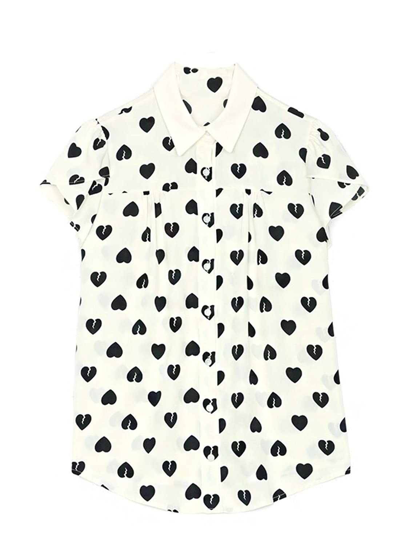 MIN Women's Heart Print Chiffon Cuff Short Sleeve Stand Collar Blouse Shirt Top