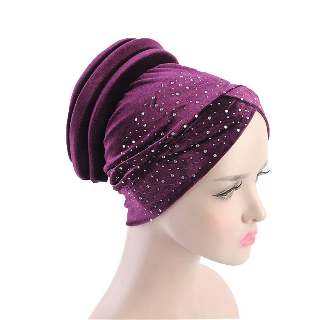 Qianmome Muslim Stretch Turban Rhinestone Velvet Beanies Autumn Gorras Mujer Hair Loss Head Scarf Wrap Hijib Cap at Amazon Womens Clothing store:
