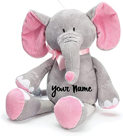 Personalized Baby Stuffed Animals, Amazon Com Personalized Baby Elephant Grey And Pink Plush Stuffed Animal Toy For Baby Girl With Custom Name 16 Inches Toys Games