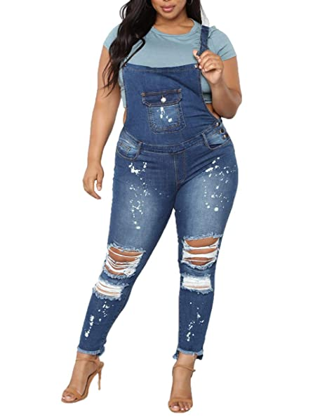 Amazon.com: Women\'s Butt Lift Bib Denim Overalls Plus Size ...