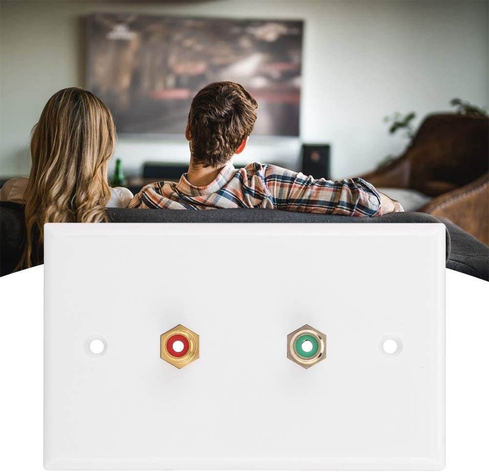 Fdit Dual RCA Connector Wall Plate RCA Insert with White Center Jack Wall Plate Panel Wall Mount Outlets for Subwoofer,Stereo Receiver and Other Equipment