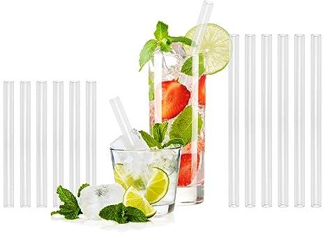 T&N Glas Strohhalm 12er Set – 6|6 Trinkhalme 15|20 cm lang + 2 Reinigungsbürsten – wiederverwendbare Strohhalme aus Glas – um