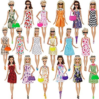 32 Item/Set Doll Accessories=10 Mix Fashion Cute Dress+ 4 Glasses+ 6 Necklaces+2 Handbag+ 10 Shoes Dress Clothes for Barbie Doll: Arts, Crafts & Sewing