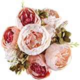 GTidea Artificial Peony Flowers Bouquet Blossom Silk Home Garden Office Dining Room Wedding Decoration Champagne