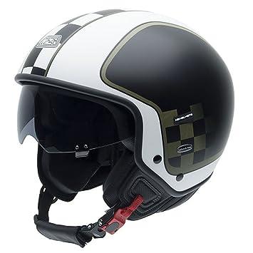 NZI 010256G625 Citycenter Style Black Casco de Moto, Blanco, Negro y Verde Militar, Talla 55-56 (S)