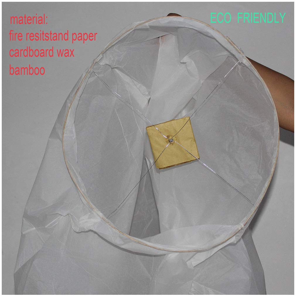 Nuluphu Sky Lanterns 10-Pack,for Any Birthdays, Parties, New Years,Funeral, Memorial Ceremonies, and More(White) by Nuluphu (Image #2)