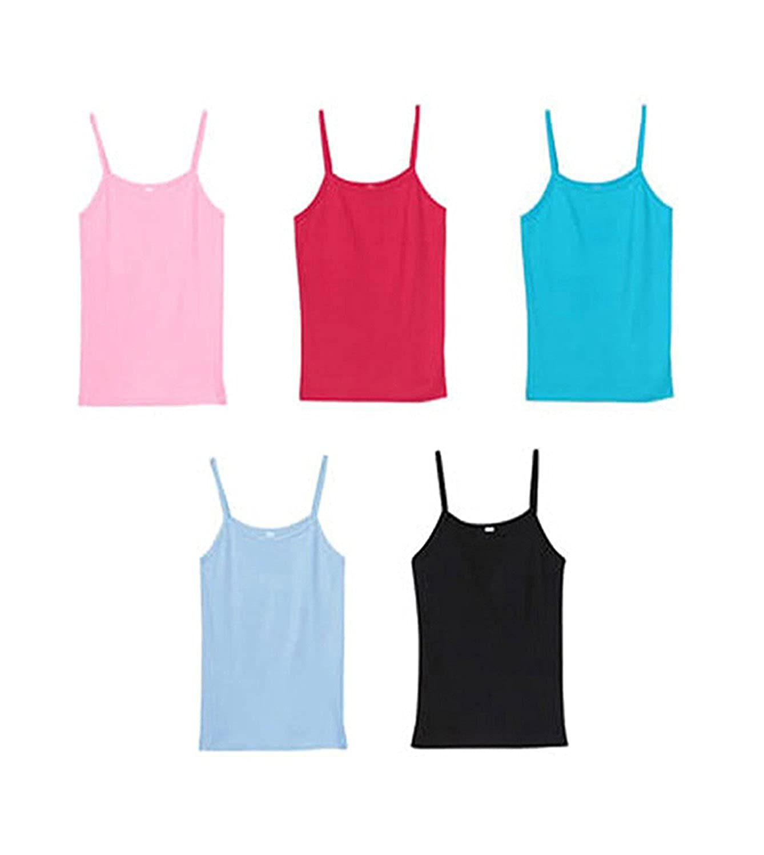 Buy Apolo Girls Cotton Camisole Multicolor |Spaghetti Top Slip |Inner| Lingerie & Underwear|Camisoles & Vests |Multi Combo of 5 at Amazon.in