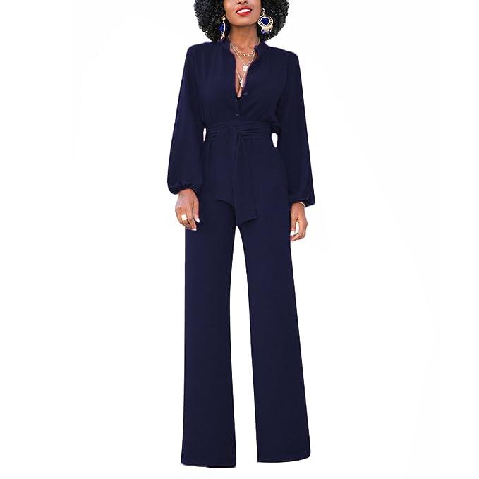 522b2ab5eb2 semen Damen Jumpsuit Business Langarm Suit Schlank High Waist Festlich Tief  V-Ausschnitt Anzug Abendmode Partywear  Amazon.de  Bekleidung