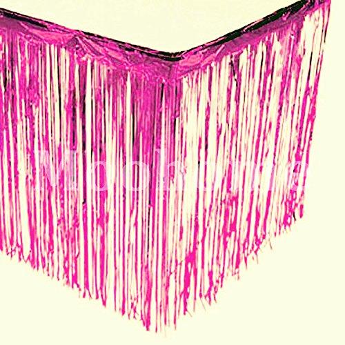 Moohome Foil Fringe Fuchsia Table Skirt 9ft. x 29inch Tinsel Party Table Skirt 108