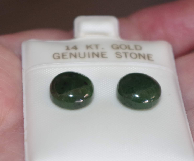 Details about  /Genuine 14K Green jadeite Jade 11MM Half Dome Round Stud Earrings AA