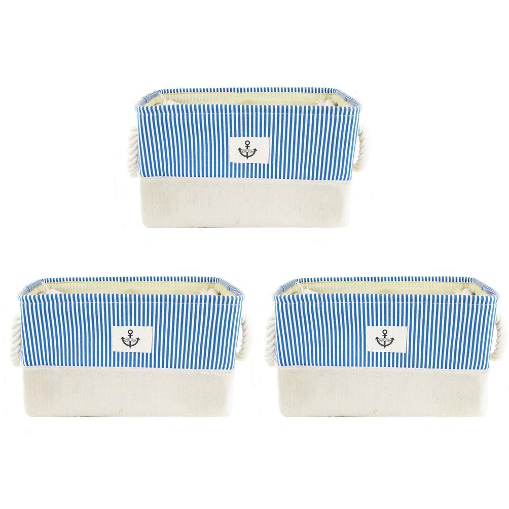 Orino Medium Nautical Style Storage Baskets Linen Storage Binswith Durable Cotton Handles Organizer Cubes 12.6x8.3x7.9 inch Each, Pack of 3