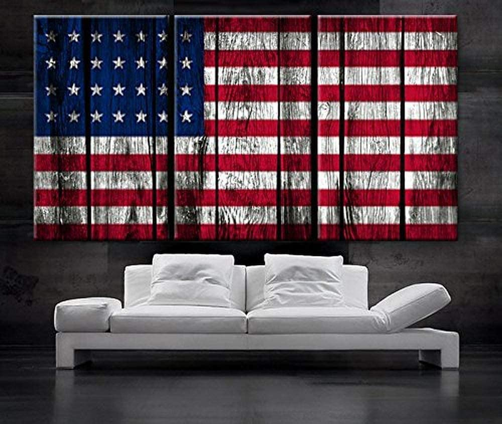 "EZON-CH Large 30""x 60"" 3 Panels 30""x20""Each Panel Ea Art Canvas Print Original American Flag Glory Old Wood Texture Wall Decor Home"