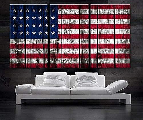 EZON-CH Large 30″x 60″ 3 Panels 30″x20″Each Panel Ea Art Canvas Print Original American Flag Glory Old Wood Texture Wall Decor Home