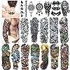 Full Arm Temporary Tattoo, Konsait Extra Temporary Tattoo Black tattoo Body Stickers for Man Women (18 Sheets)