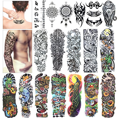 Full Arm Temporary Tattoo, Konsait Extra Temporary Tattoo Black tattoo Body Stickers for Man Women (18 Sheets) (Half Sleeve Tattoos For Men Black And White)