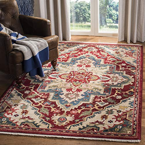 Safavieh Kashan Collection KSN304D Traditional Red and Beige Area Rug (5'1